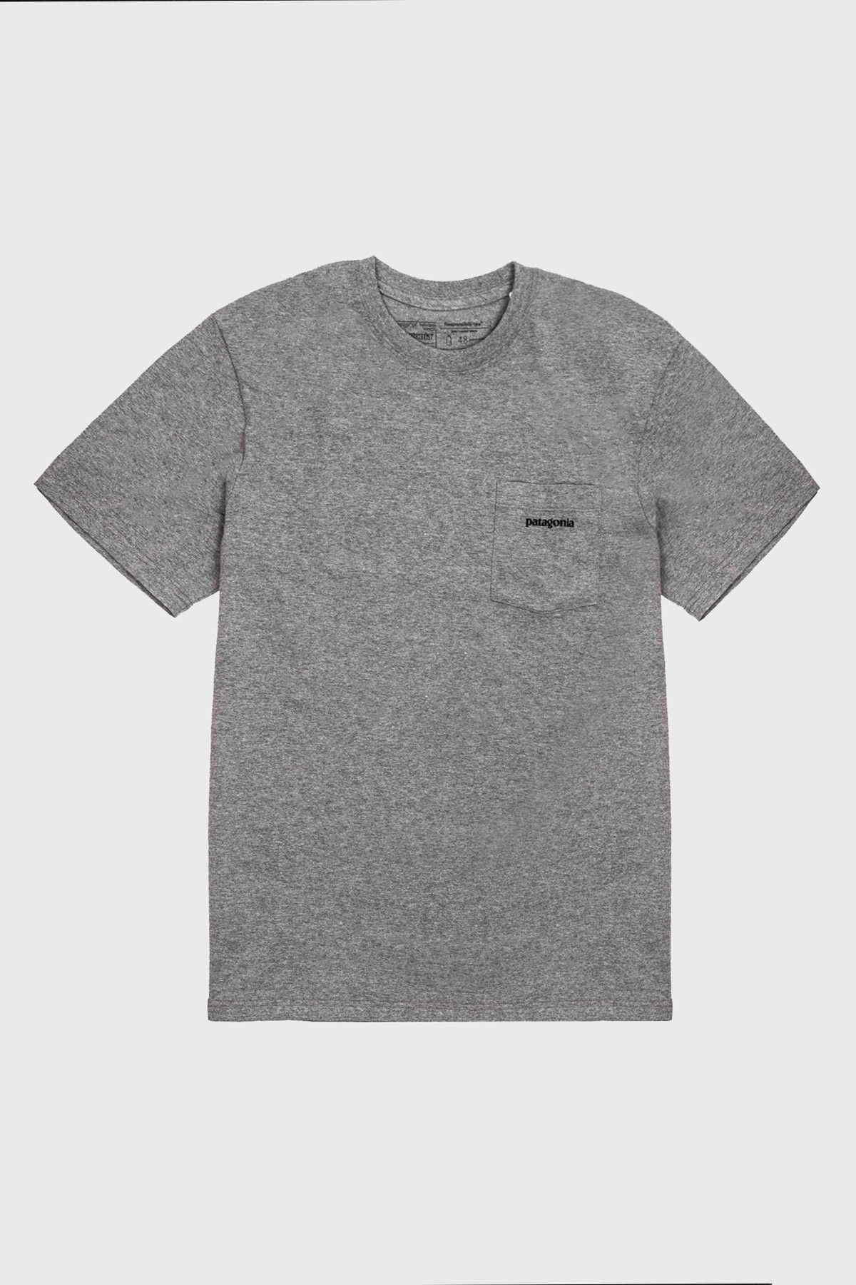 patagonia - P-6 logo pocket Tee - GRAVEL HEATHER